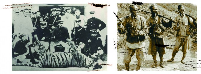 1921년 경주 대덕산에서 호랑이를 잡은 모습(왼쪽)과 구한말 조선 포수의 모습(오른쪽) - 동아일보 제공